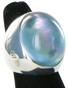 Pomellato Pinctada Maxima Green Tinted Agate Ring Sterling New Sz 6.75 54