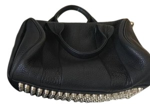 Alexander Wang Pebbled Leather Gold Studs Satchel in Black