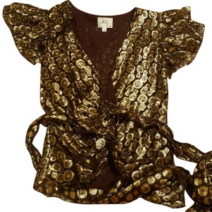MILLY Never Been Worn Top Plum and Gold Flocked