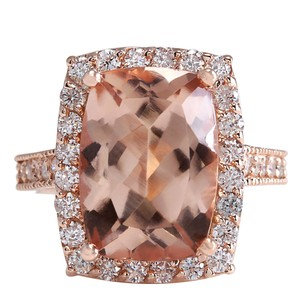 Fashion Strada 7.12CTW Natural Peach Morganite And Diamond Ring In 14K Solid Rose Gol