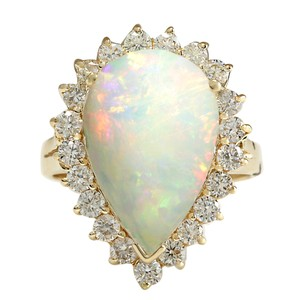 Fashion Strada 5.98CTW Natural Opal And Diamond Ring In 14K Solid Yellow Gold