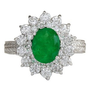 Fashion Strada 2.50CTW Natural Emerald And Diamond Ring 14K Solid White Gold