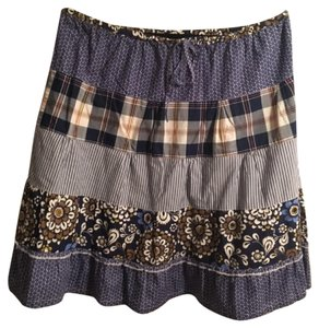 J.Crew Plaid Classic Skirt Multi Blue / Beige / White
