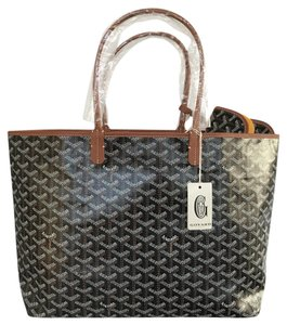 Goyard Pm St. Louis Chevron Tote in Black