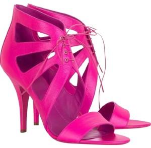 Givenchy Heels Bootie Cutout Pink Lace Up Fuchsia Pink Sandals