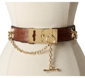 BCBGMAXAZRIA brown toggle belt gold chain size medium
