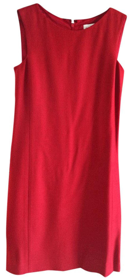 Oscar De La A Cherry Sheath Ed Knee Length Dress