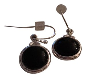 New York & Company Silver & Black Round Earrings