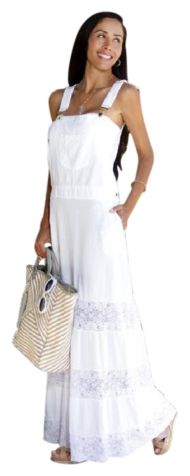 27465de75f8e Lirome White Linette Organic Gauze Cotton Lace Romantic 80's Overall Casual Maxi  Dress