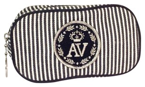 Adrienne Vittadini vintage striped AV cosmetic pouch zip around case