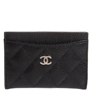 Chanel Classic card case black caviar with sliver tone metal