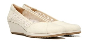 Naturalizer Summer Tan Lace Detail Canvas Cream Canvas Wedges