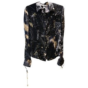 Roberto Cavalli Cavalli Horoscope Star Silk Charms Top Black Gold