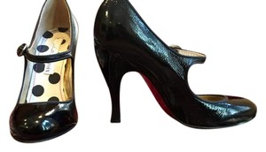 Christian Lacroix Mary Jane Heels Patent Leather Black Pumps
