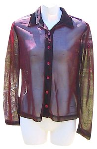 No Boundaries Transparent Long Sleeve Top Maroon