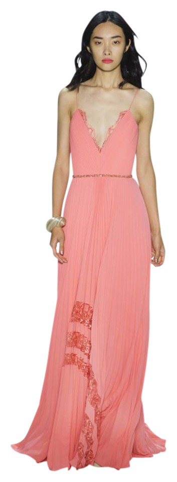 Badgley Mischka Coral Eg1814 Pleated Inset Lace Runway Evening Gown ...