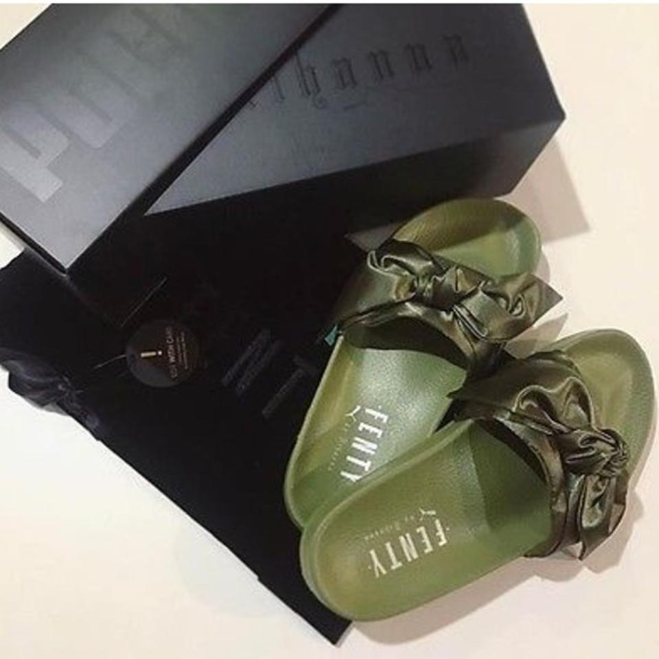 size 40 df17d fc73e FENTY PUMA by Rihanna Dark Olive Green New Satin Bow Slide Sandals Size US  8.5 Regular (M, B)