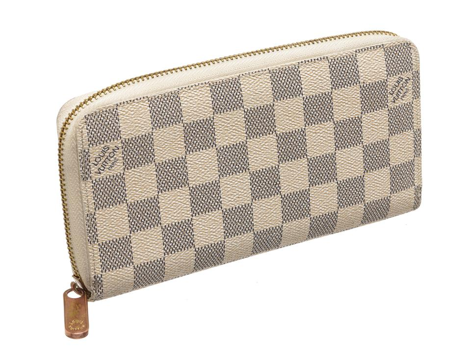 c6757af803b0 Louis Vuitton Cream White and Blue Damier Azur Canvas Leather Zippy Wallet  - Tradesy