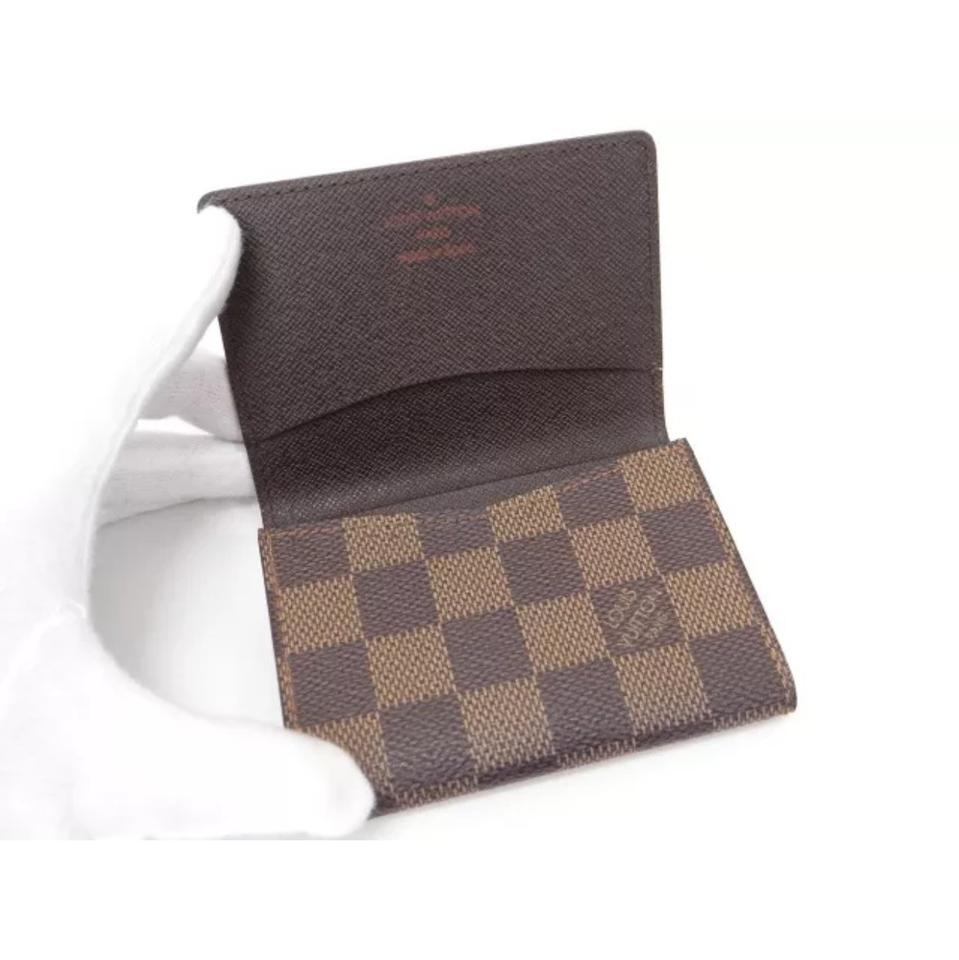Louis Vuitton Brown Damier Ebene Bifold Business Card Holder Card ...