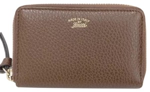 Gucci brown leather zippy small card wallet coin case
