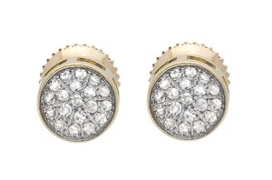 Other Round Disc Pave Cluster Genuine Diamond 6MM Stud Earrings 0.25ct