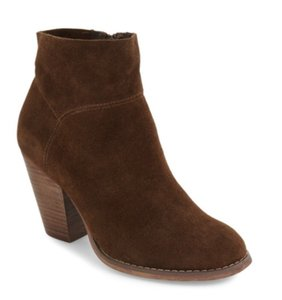 Sole Society Suede Leather Almond Toe Western Brown Boots