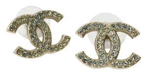 Chanel Chanel CC Logo Earring with Crystals Rhinestones