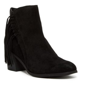 Kenneth Cole Reaction Suede Leather Tassels Round Toe Black Boots