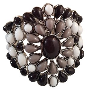 Lux Summer Lux Silver Plated Bracelet Black ,, Grey & White Resin