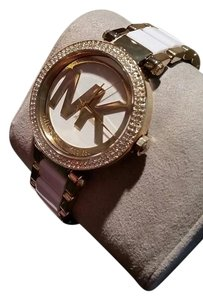 Michael Kors Collection Michael Kors MK Logo Parker White Acetate Gold Tone Crystal Pave Watch