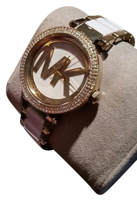 Item - Gold Tone White Mk Logo Parker Acetate Crystal Pave Watch