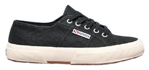 Superga Lace Up Stitched Details Sportswear Flats Sneakersk Black Athletic