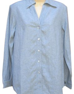 Coldwater Creek Linen Longsleeve Oversized Spring Button Front Button Down Shirt Blue