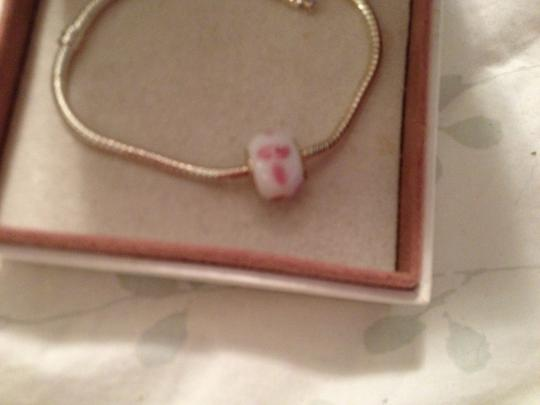 Bella & Chloe European Style Murano Lampwork glass Bead;, ONLY 1. White with Pink. 4mm hole.