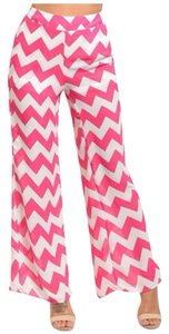 Other Chevron Palazzo Pants Wide Flare Leg Jeans-Light Wash
