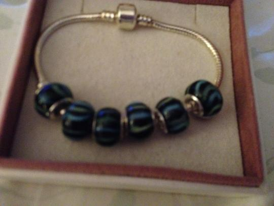 Bella & Chloe Set of 6-European Style Murano Lampwork glass Beads. Beads are Black with Blue Stripes. 4 mm hole.
