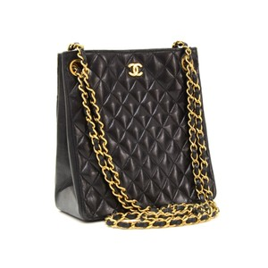Chanel Vintage Gold Hardware Quilted Leather Luxury Tote in black