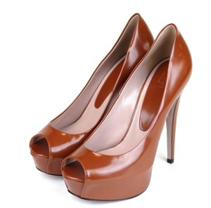 Gucci Leather Peep Toe Platform Brown Pumps