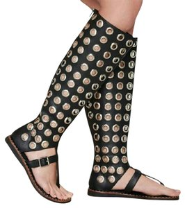Jeffrey Campbell Studded Biker Sexy Gladiator Black and Silver Sandals