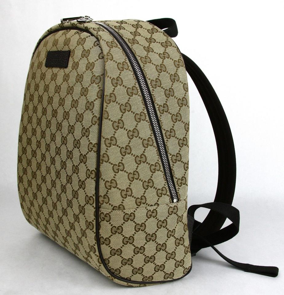 0fe47072f38 Gucci Beige Brown Zipper 449906 9873 Beige Brown Gg Canvas Leather ...