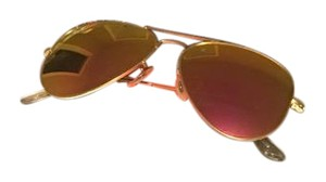 Ray-Ban Ray Ban Aviator Sunglasses Rb3025 Matte Gold Frame Cyclamen Pink Reflector 58mm Lens