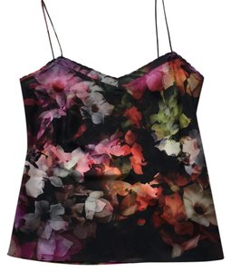 Ted Baker Top Multi colored. Black background with splashes of red, orange, purple, green and fuschia.