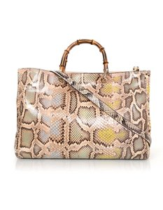 Gucci Python Gold Hardware Bamboo Tote in blush