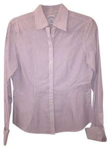 Brooks Brothers Fitted Noniron Cotton Button Down Shirt pinstriped