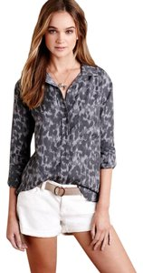 Anthropologie Button Up Cloth And Stone Animal Button Down Shirt Grey Leopard Print