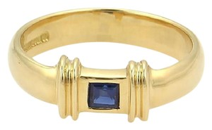 Tiffany & Co. Square Sapphire 18k Yellow Gold Stack Ring Size 5