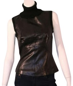 Charles Chang Lima Leather Leather Vest Leather Top Black