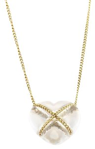 Tiffany & Co. Clear Quartz 18k Yellow Gold Crossover Heart Pendant & Chain Necklace