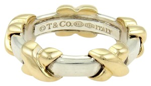 Tiffany & Co. Crossover X 18k Yellow Gold & Sterling Silver Band Ring Size 4.25