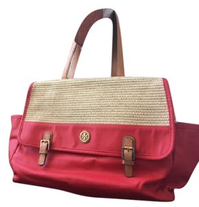 Tory Burch Red and Beige Beach Bag